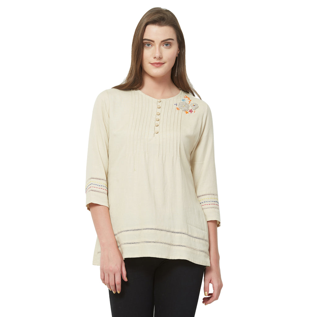 Beige solid lace insert top with embroidery