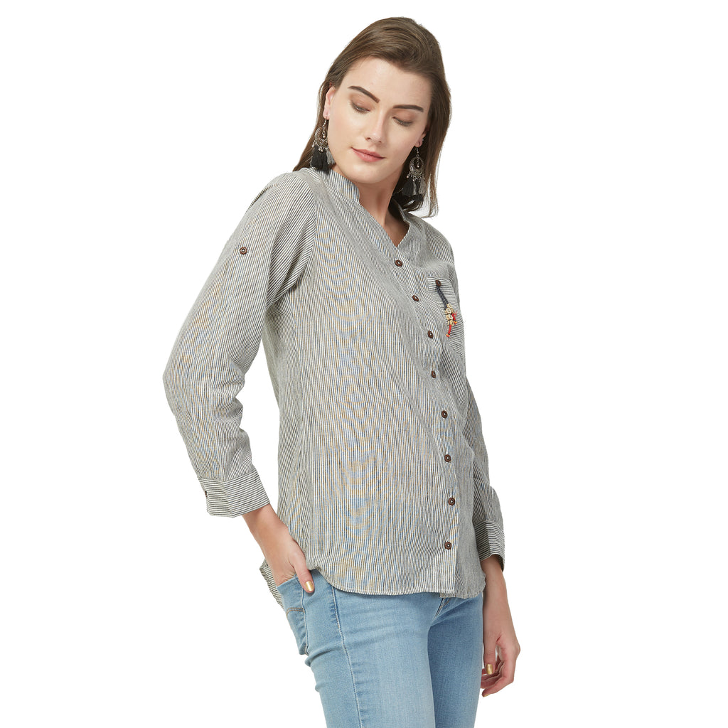 Black striped tunic with embroidery and button tussals