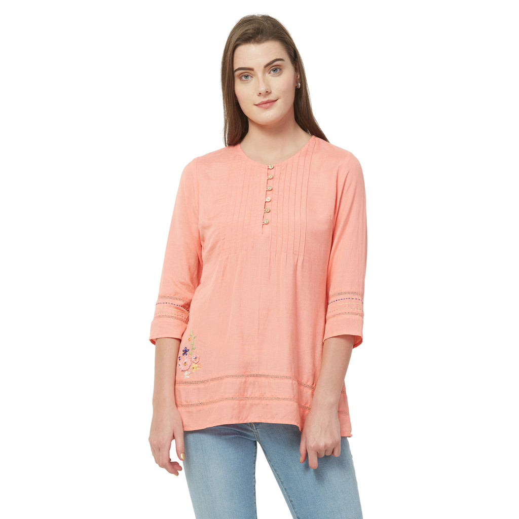 Pink solid lace insert top with embroidery