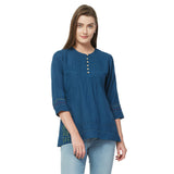 Blue solid lace insert top with embroidery