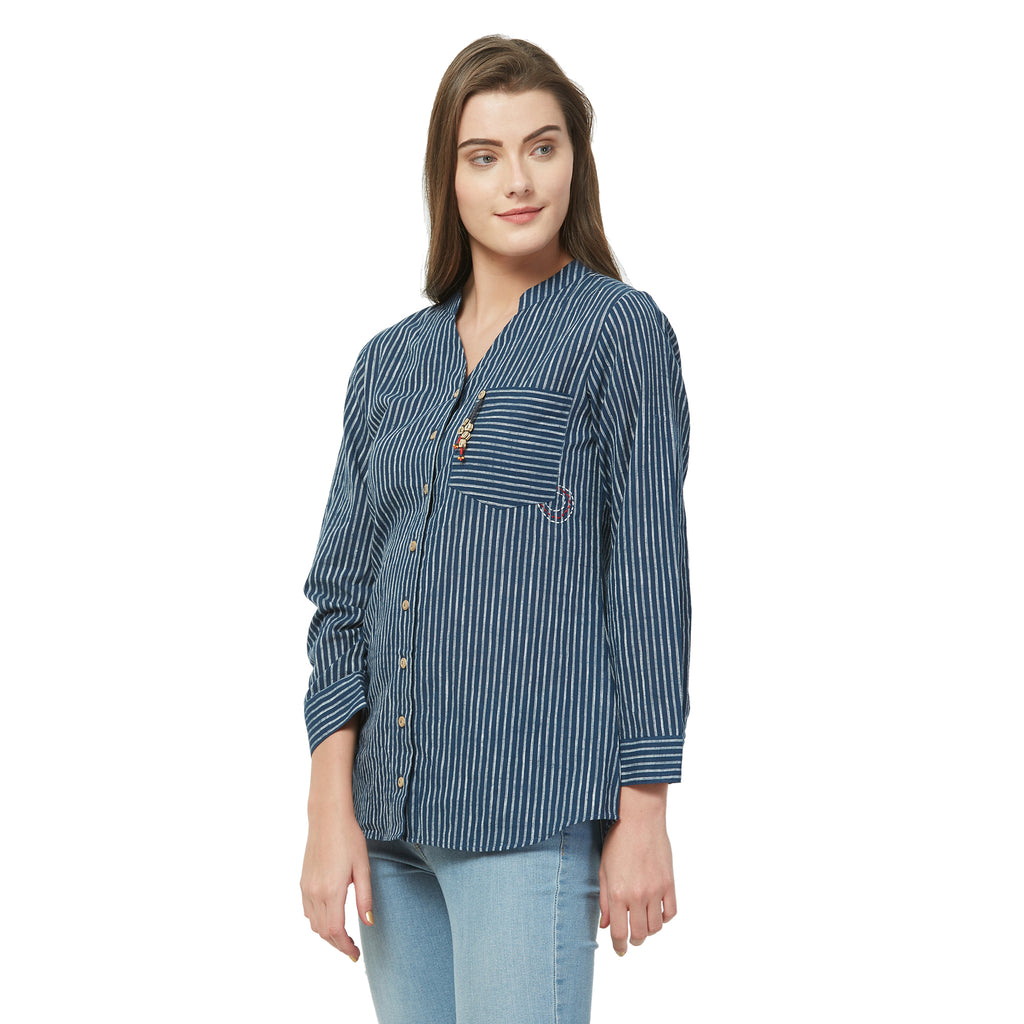 Indigo striped Tunic with embroidery and button tussals