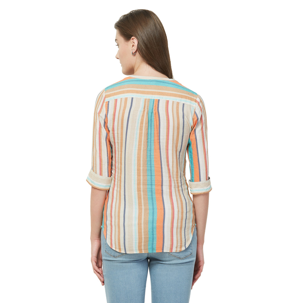 Off white stripe Printed top with lace and embroidery