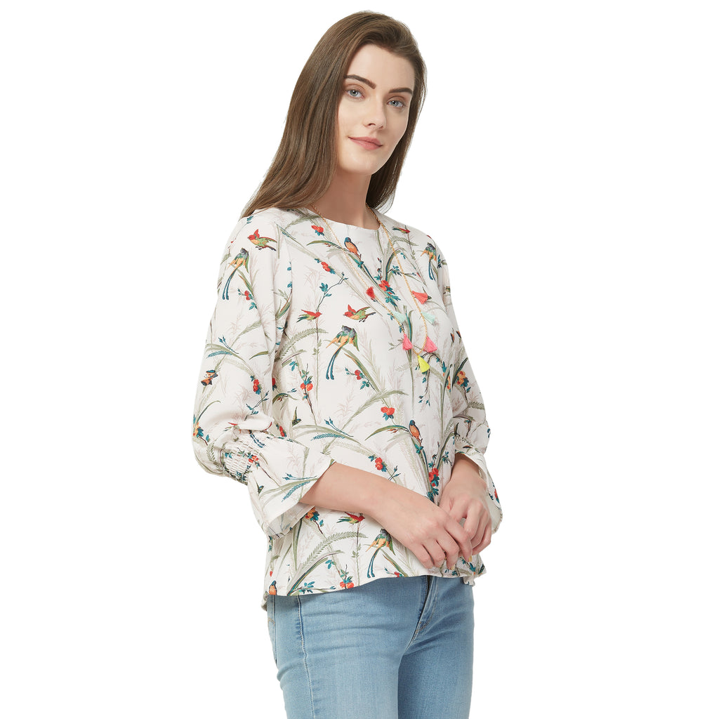 Off white floral print top with necklace
