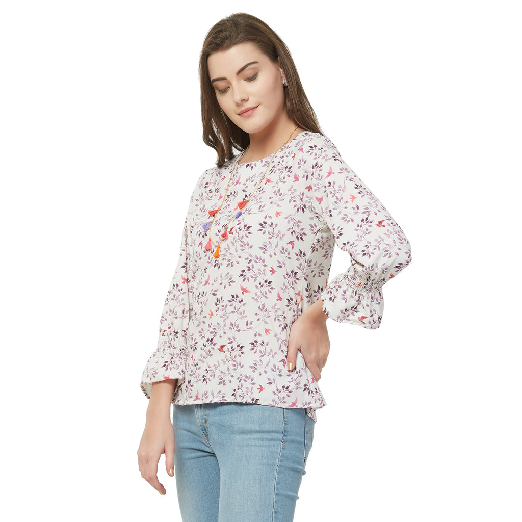 Off white Floral Top with Necklace
