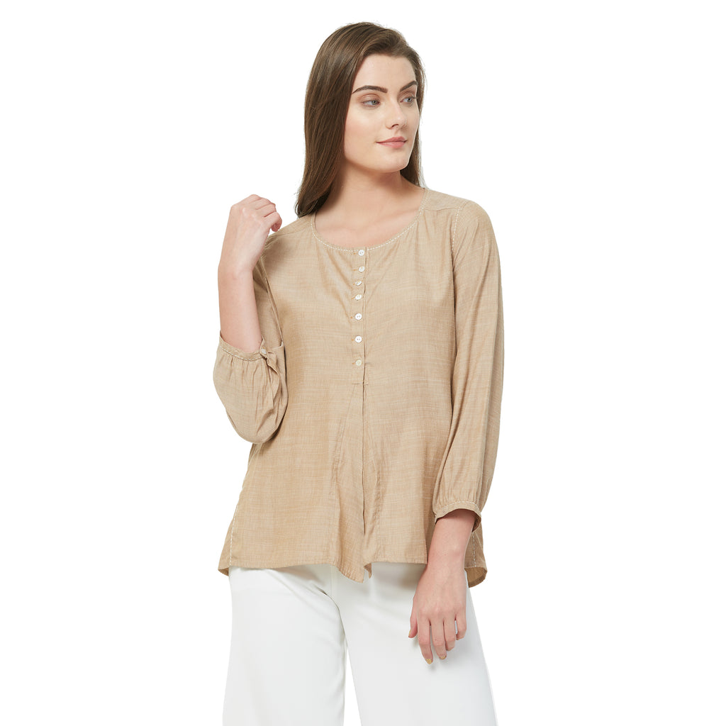 Beige solid front Slit top with kantha