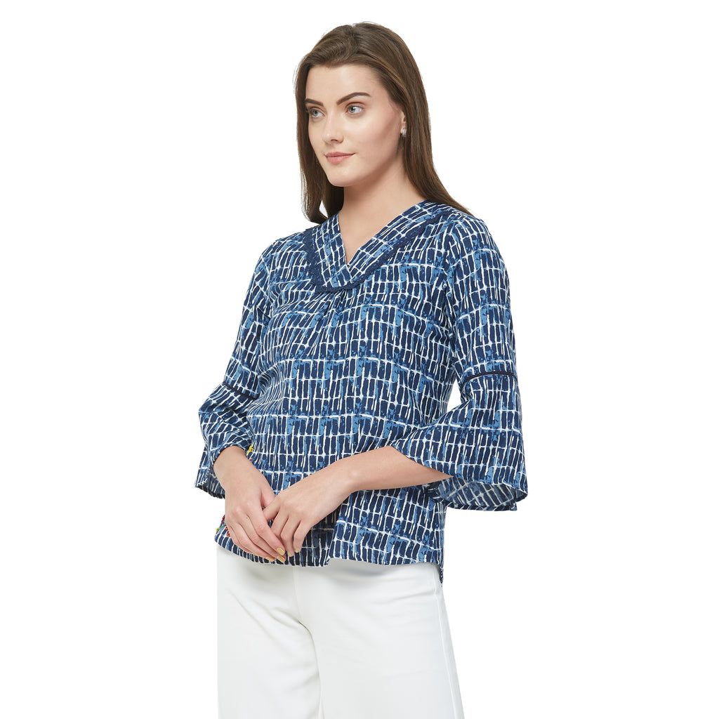 Blue printed lace insert top with embroidery