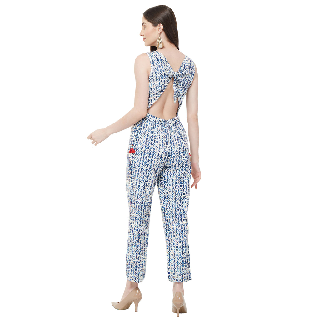 White printed jumpsuit with back knot detail and embroid