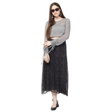 Black printed georgette skirt