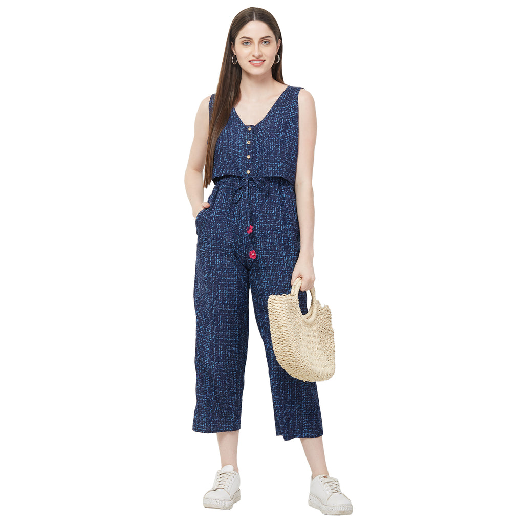 Blue printed jumpsuit with buttons