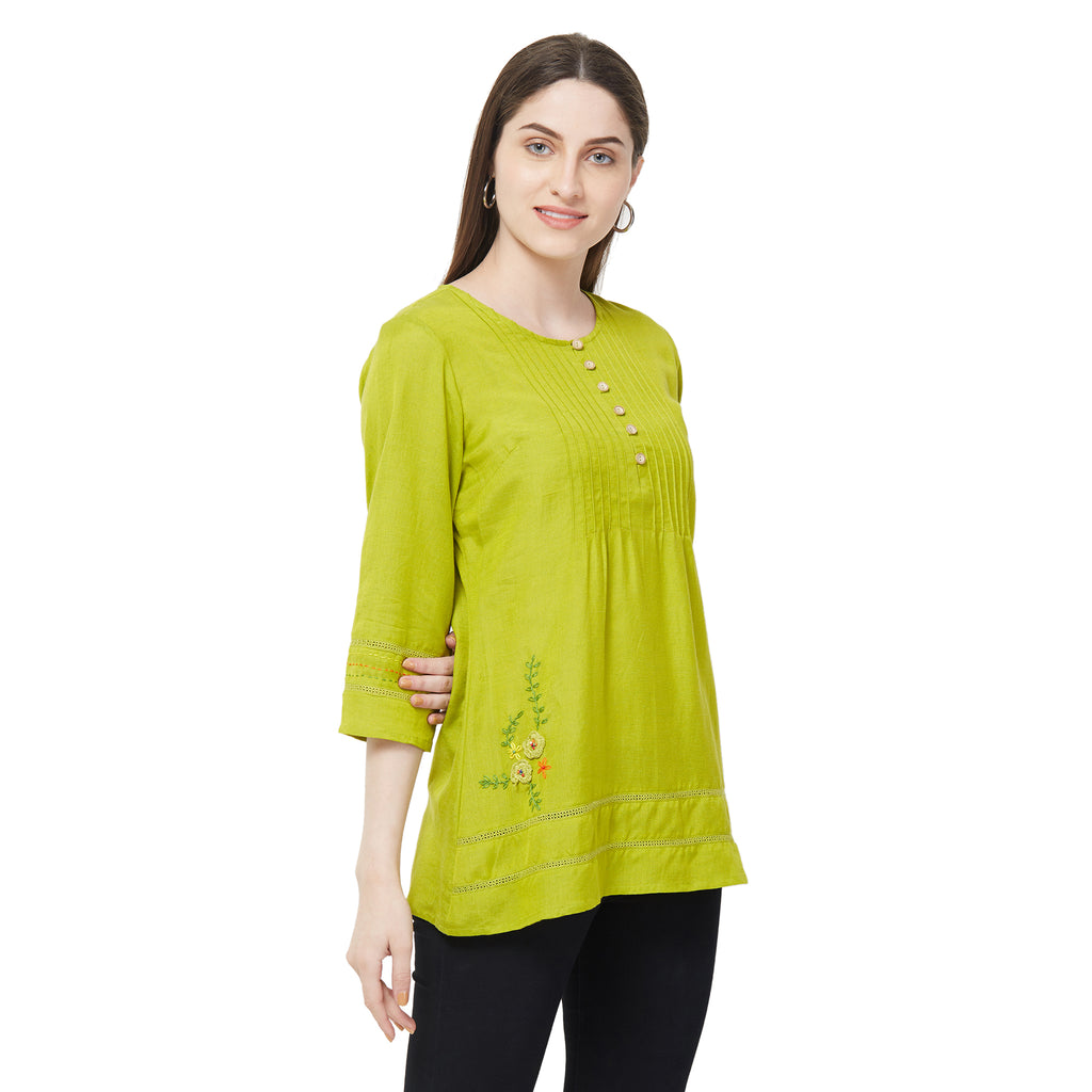 Lime solid lace insert top with embroidery