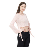 Pink Round neck top with full sleeve with Tie of self fabric