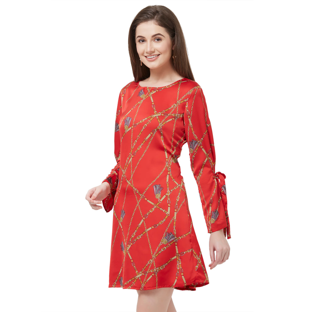 Red printed dress with sleeve tie up