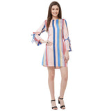Ruched front printed dress