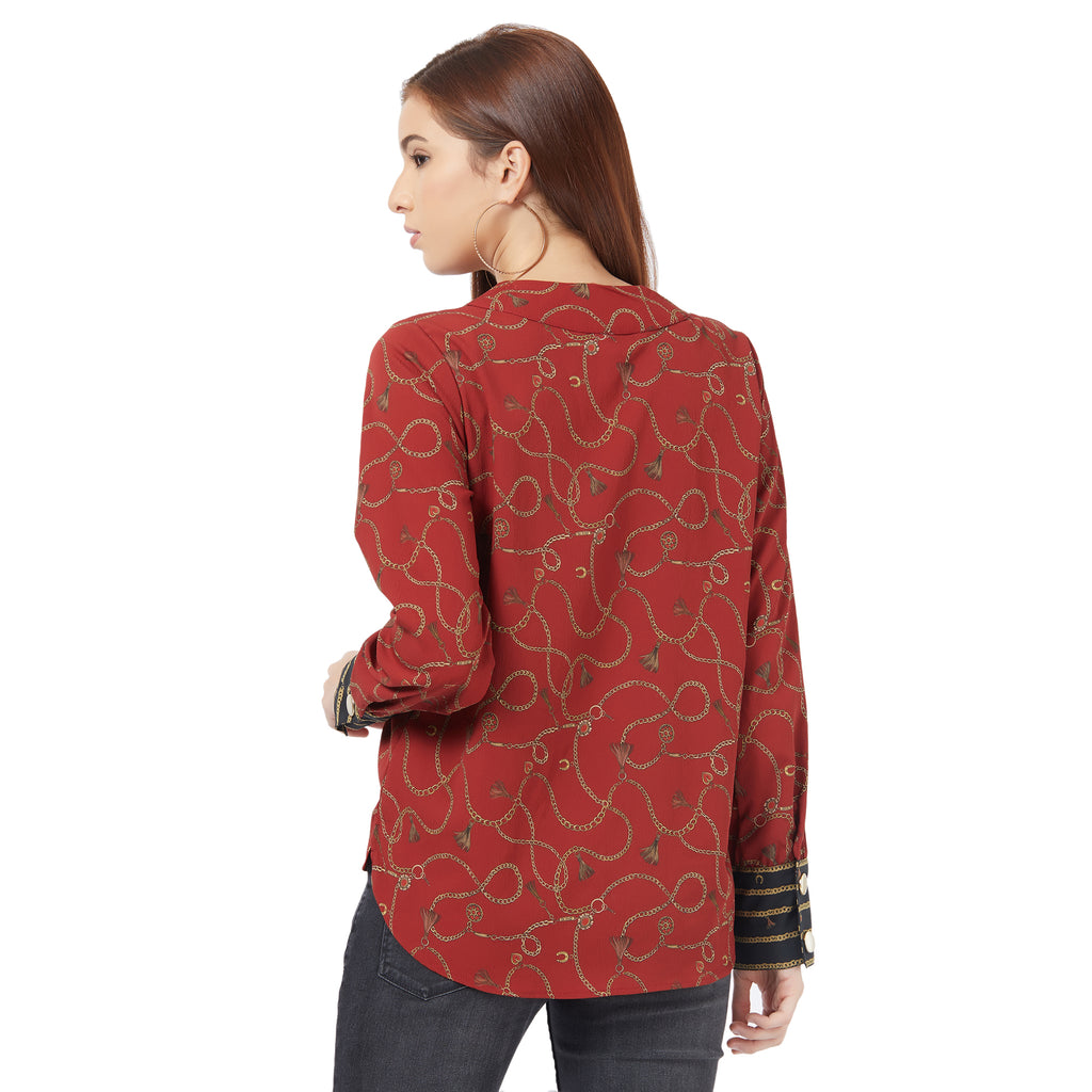 Red printed top with contrast printed cuff