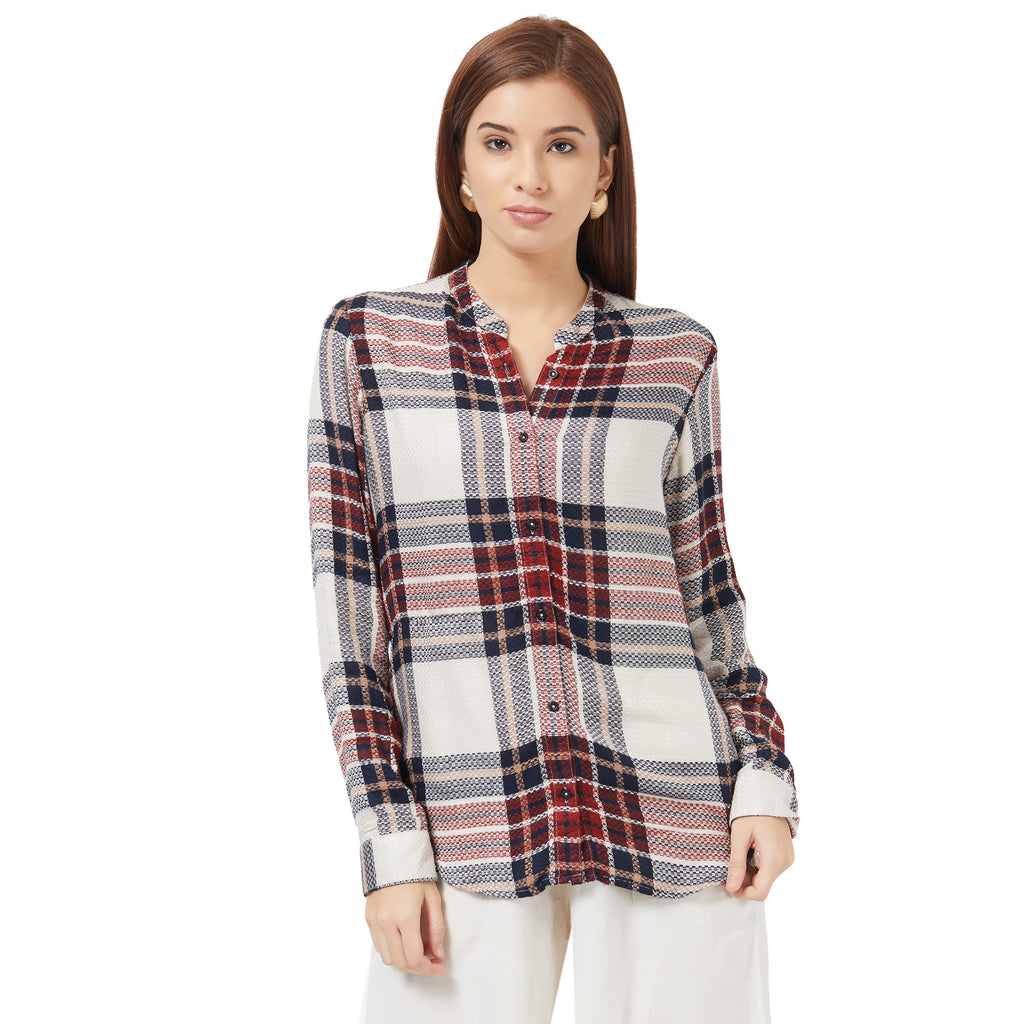 Y/D button down check shirt