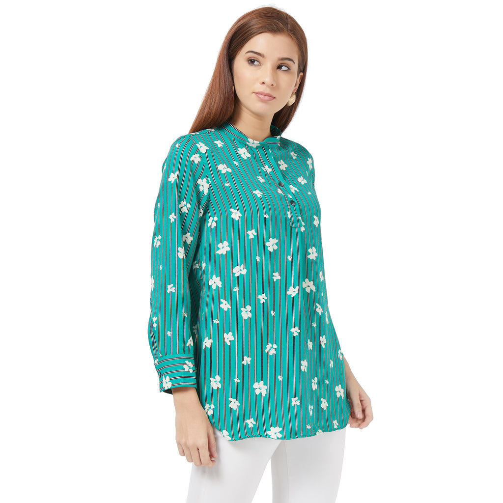 Green printed Basic blouse