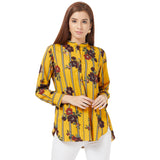 Yellow printed basic top