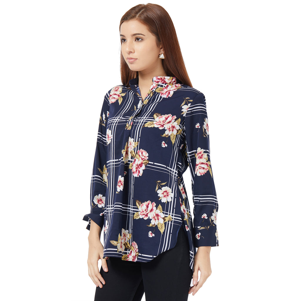 Blue printed basic blouse
