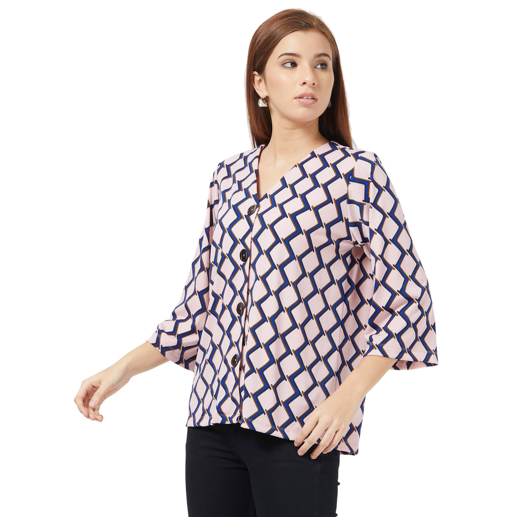 Pink printed top in Knitted fabric