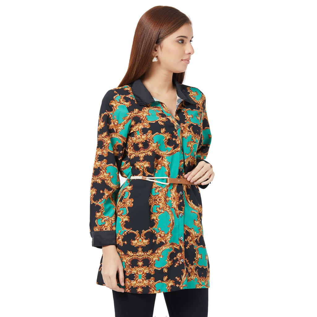 Printed Shirt with black collar