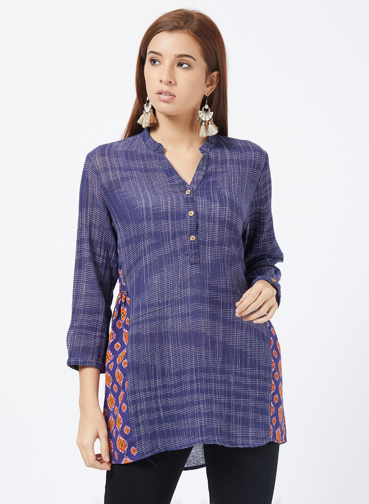 Handloom shirt with ikat patch