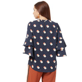 Printed  top with bell sleeve