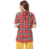 Red Checked Top with back tie up