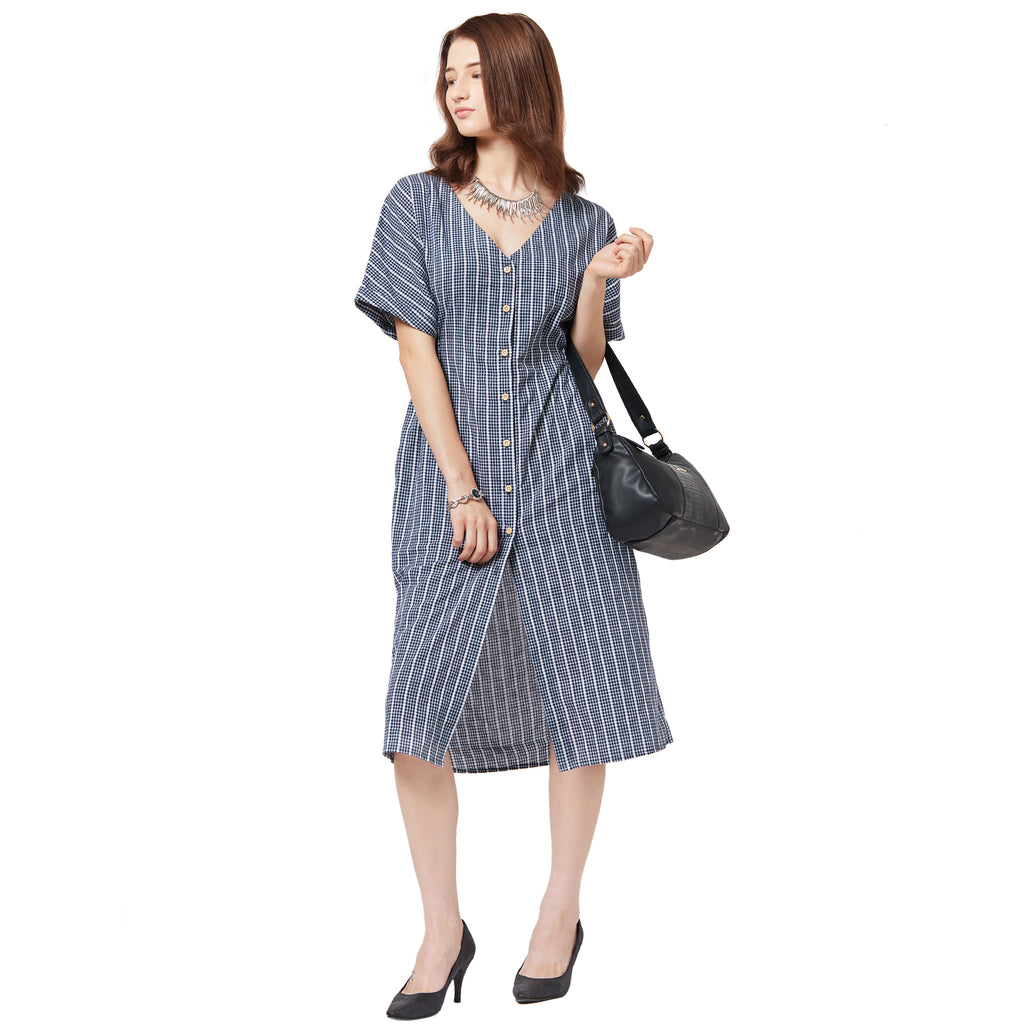 Blue checkered striped relaxed fit dress