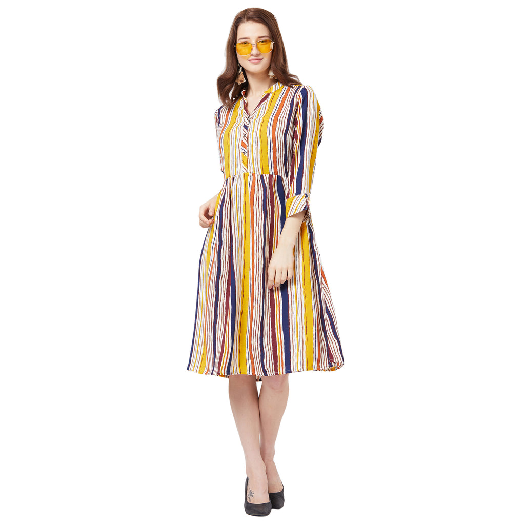 Yellow checkered dress with button front and belt detail