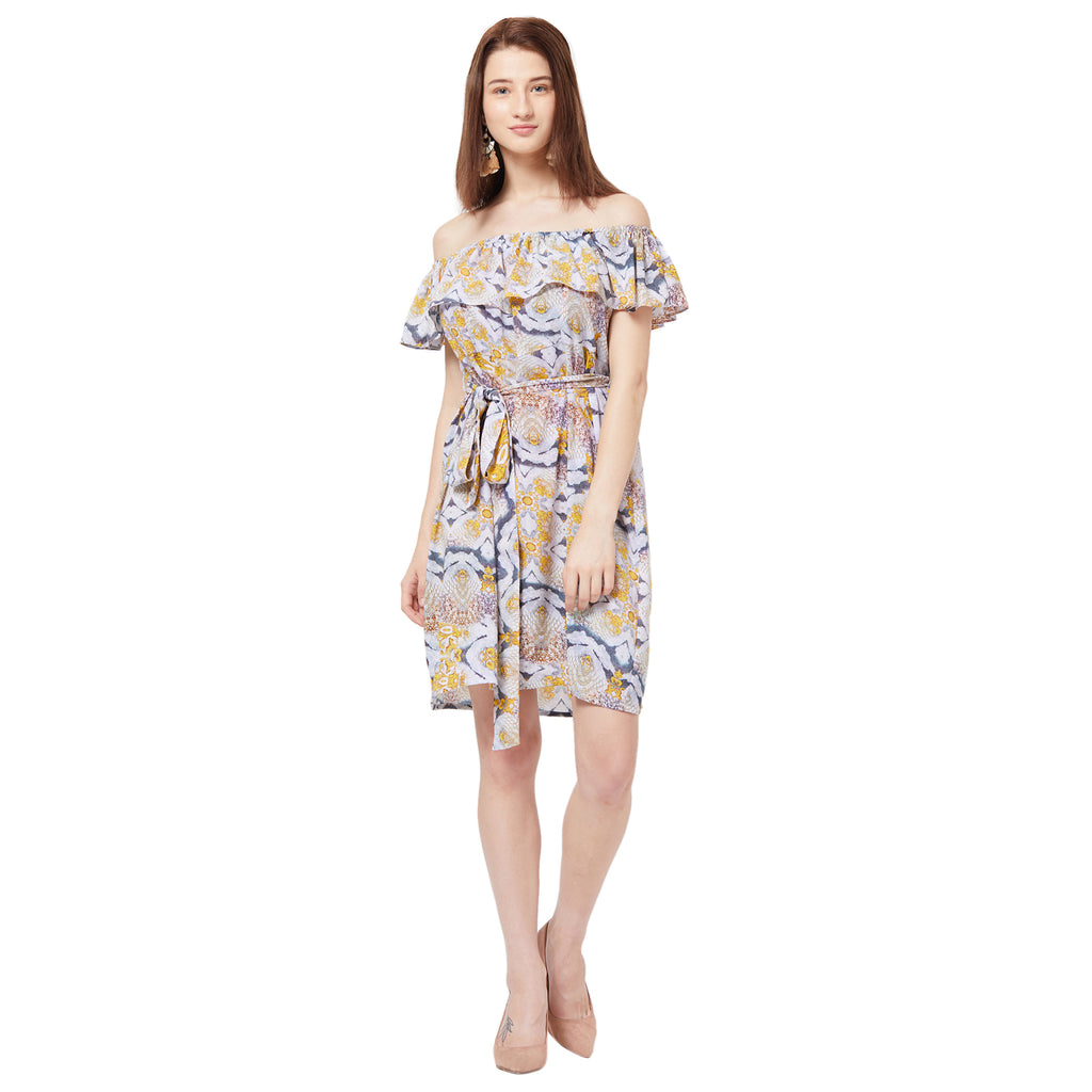 Printed Bardot Dress