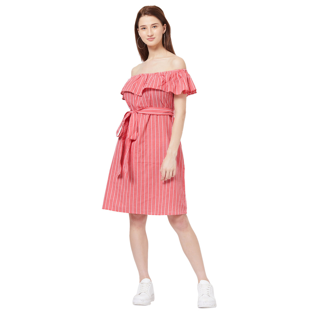 Red bardot striped dress with belt detail