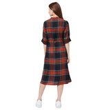 Red checkered dress with button front and belt detail