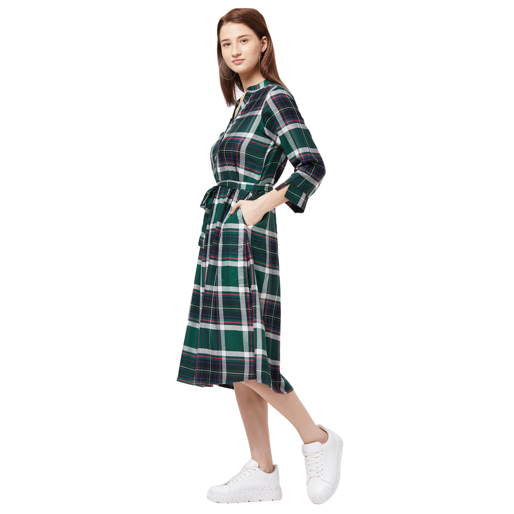 Green bar dot striped dress with belt detail