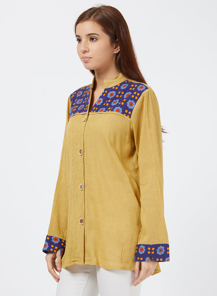 Handloom shirt with floral patch