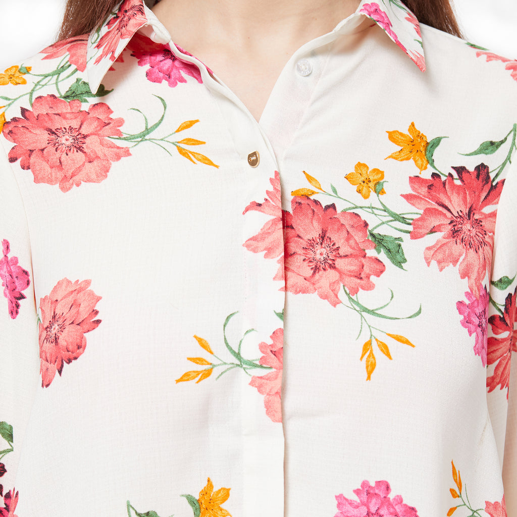Floral printed long sleeve collared shirt