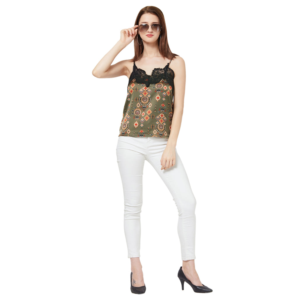 Printed Cami with Lace detail