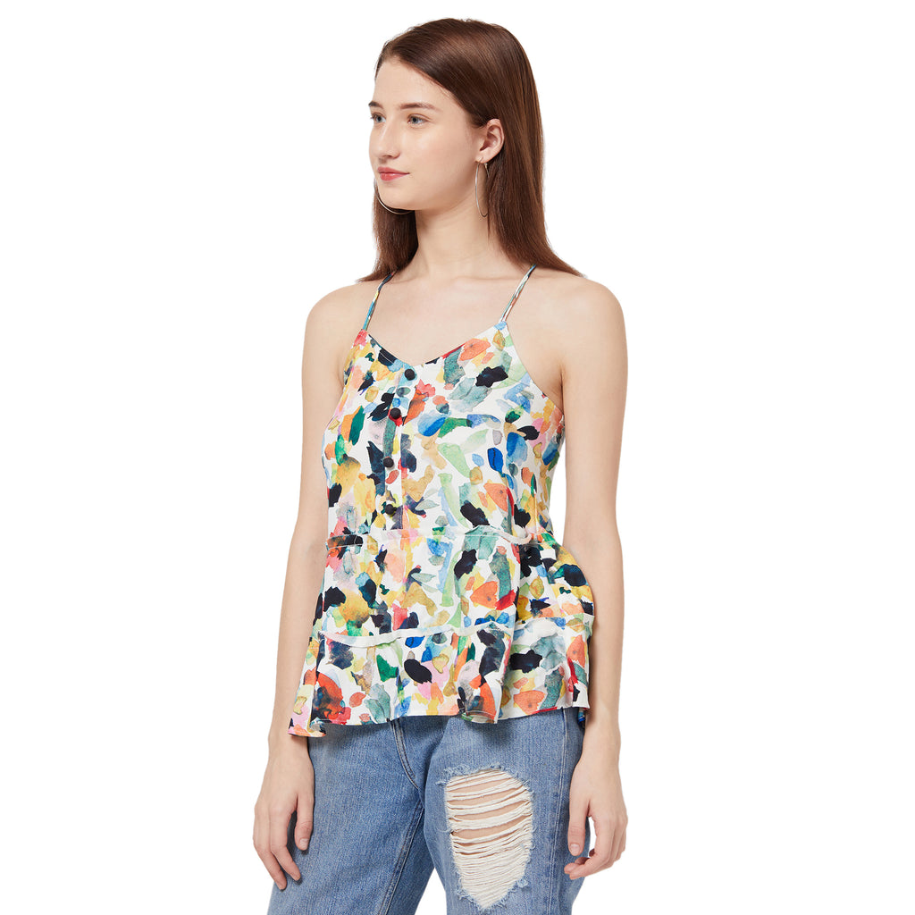 Multicoloured strappy top with button front