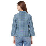 Long sleeve collared shirt with a button-up fron