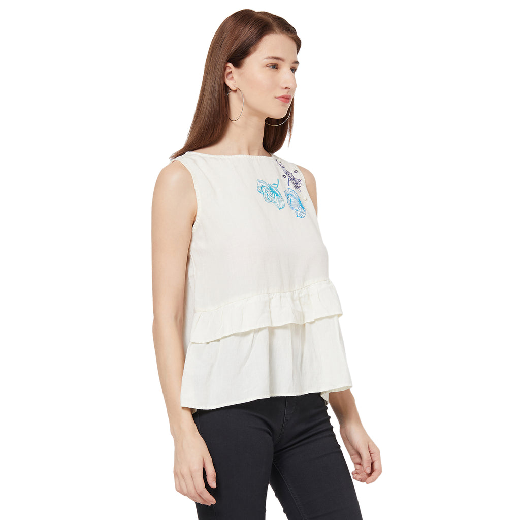 Asymmetric Flared Top With Block Print