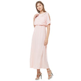 Pink Lurex maxi dress with Embroidery