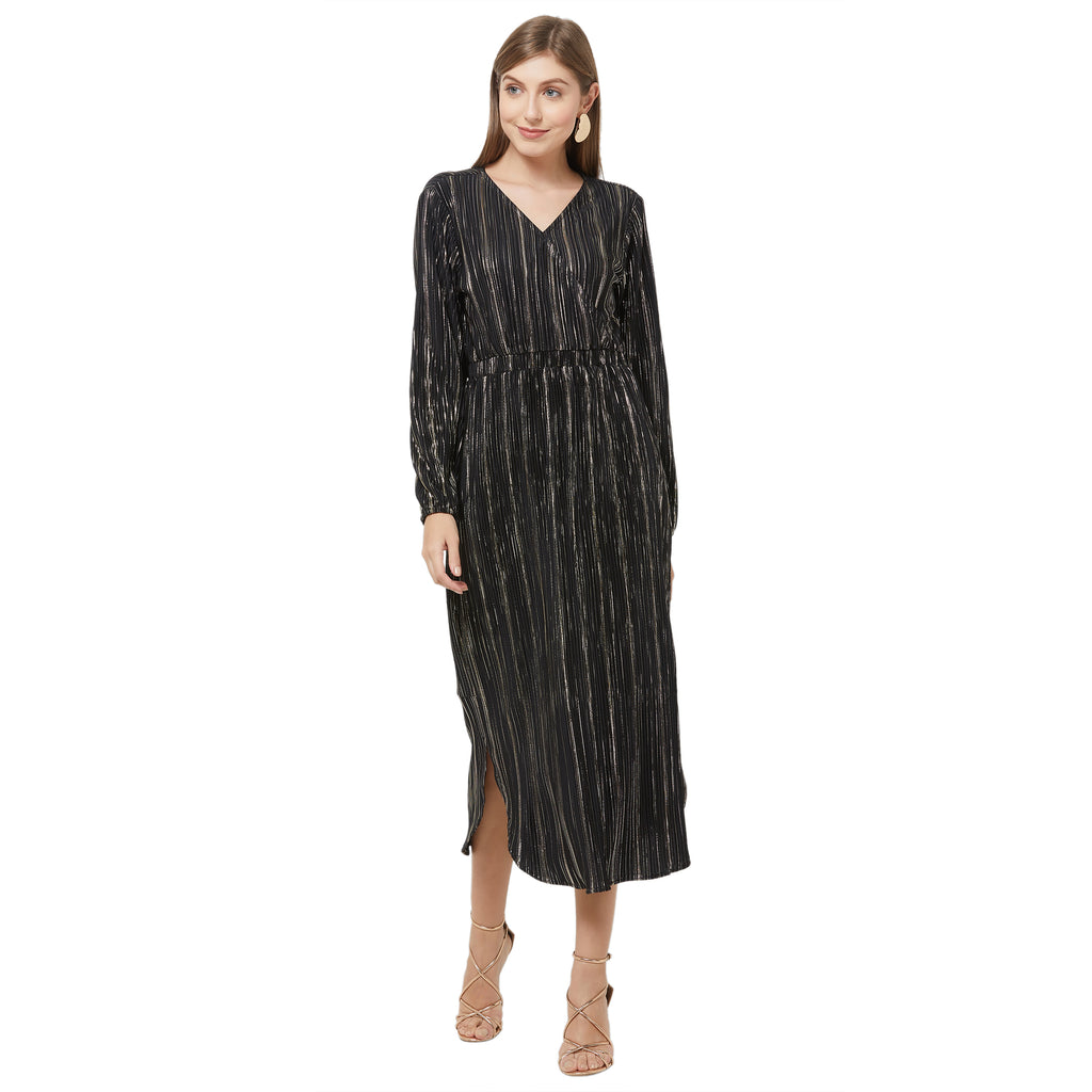black stripe maxi  wrap dress