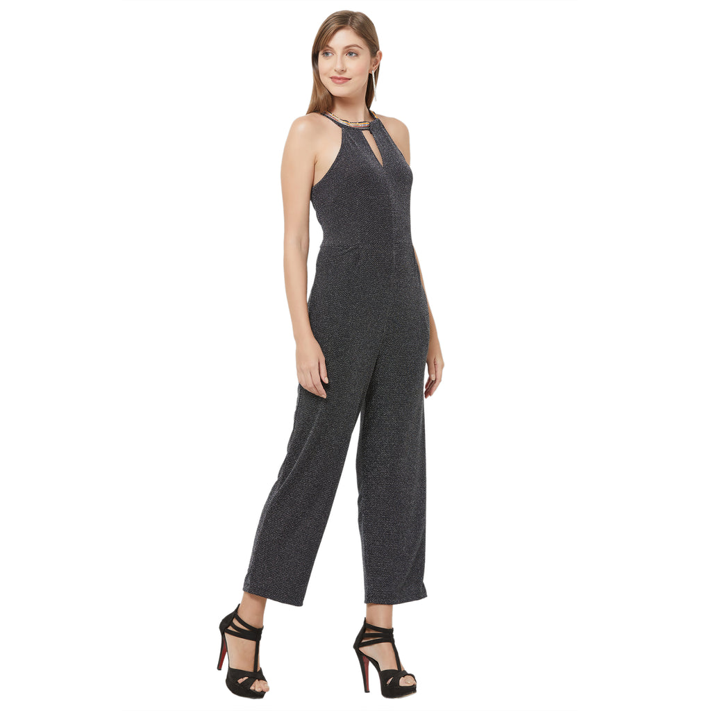 Black embellished neck jumpsuit