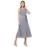 Grey embellished side maxi dress