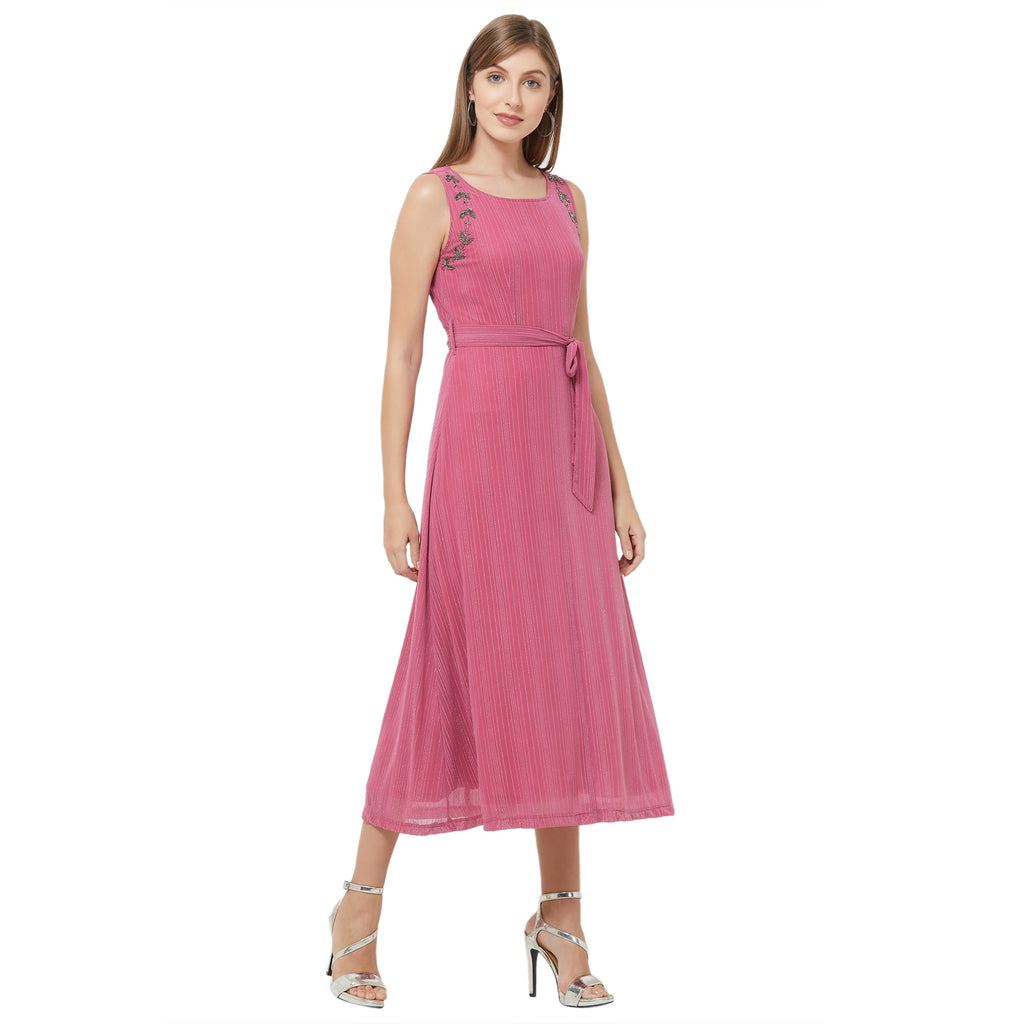 Pink embellished side maxi dress