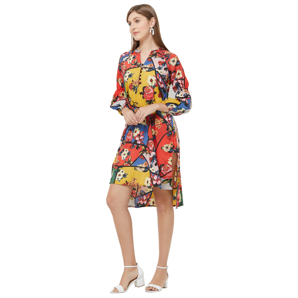Multi color printed dress with belt