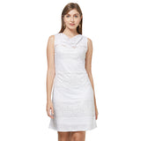 White burnout dress with cowl neck