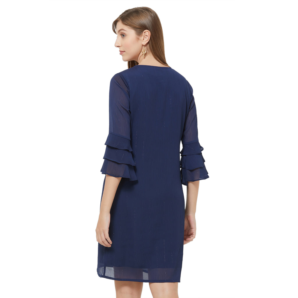 Blue shift dress with layered sleeve