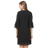 Black shift dress with layered sleeve