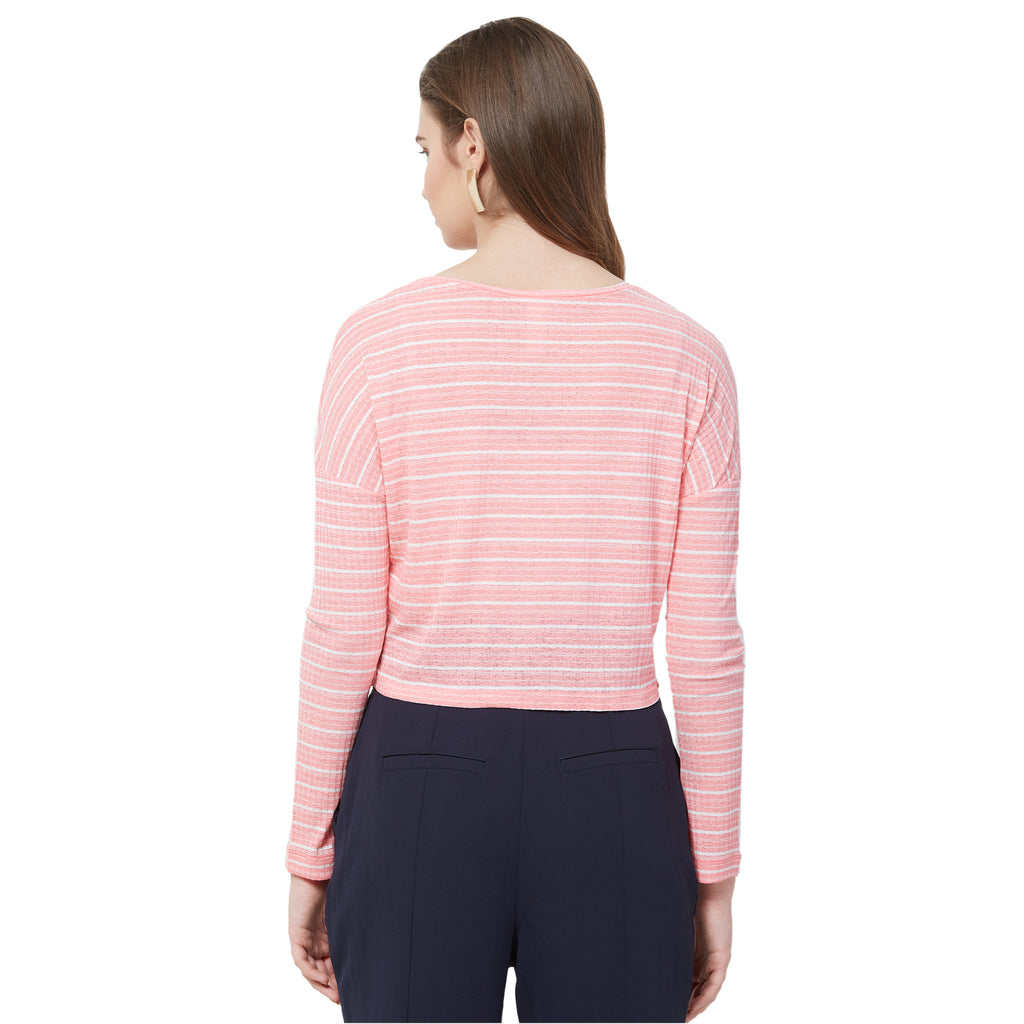 Pink round neck top with buttons at front
