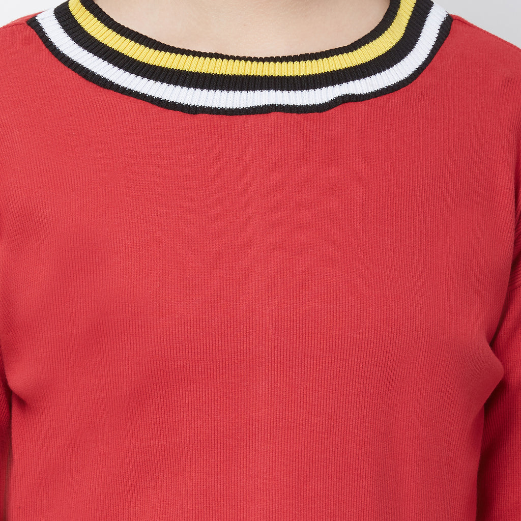 Red Round neck top with Rib at neck & slv cuff